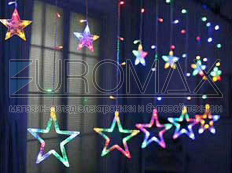 Гирлянда 10 больших звезд с прозрачным проводом (синий) 24шт STAR-12-B