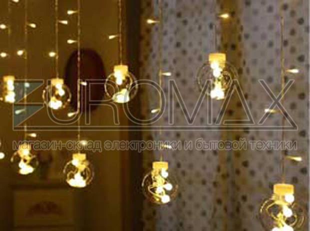 Гирлянда 10 больших шаров с прозрачным проводом (микс) LAMP-BALL-12-M