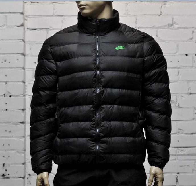 Зимняя мужская куртка Nike черная с воротником стойка топ реплика
