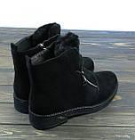 Стильные молодежные женские ботинки на низком каблуке замшевые, фото 2