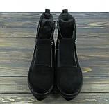 Стильные молодежные женские ботинки на низком каблуке замшевые, фото 3