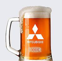 """Пивной бокал с именной гравировкой """"Mitsubishi"""" (0,5л)"""