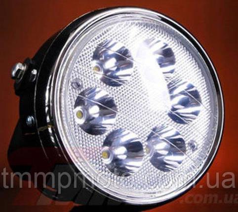 Фара Дельта круглая хром LED-6 ( светодиодная 6 диодов 18W ) 16104668, фото 2