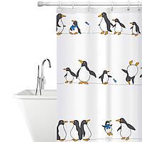 Тканевая штора для ванной комнаты Tatkraft 180 х 180 см Пингвины (18648)