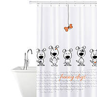 Тканевая штора для ванной комнаты Tatkraft 180 х 180 см Веселые собаки (18136)