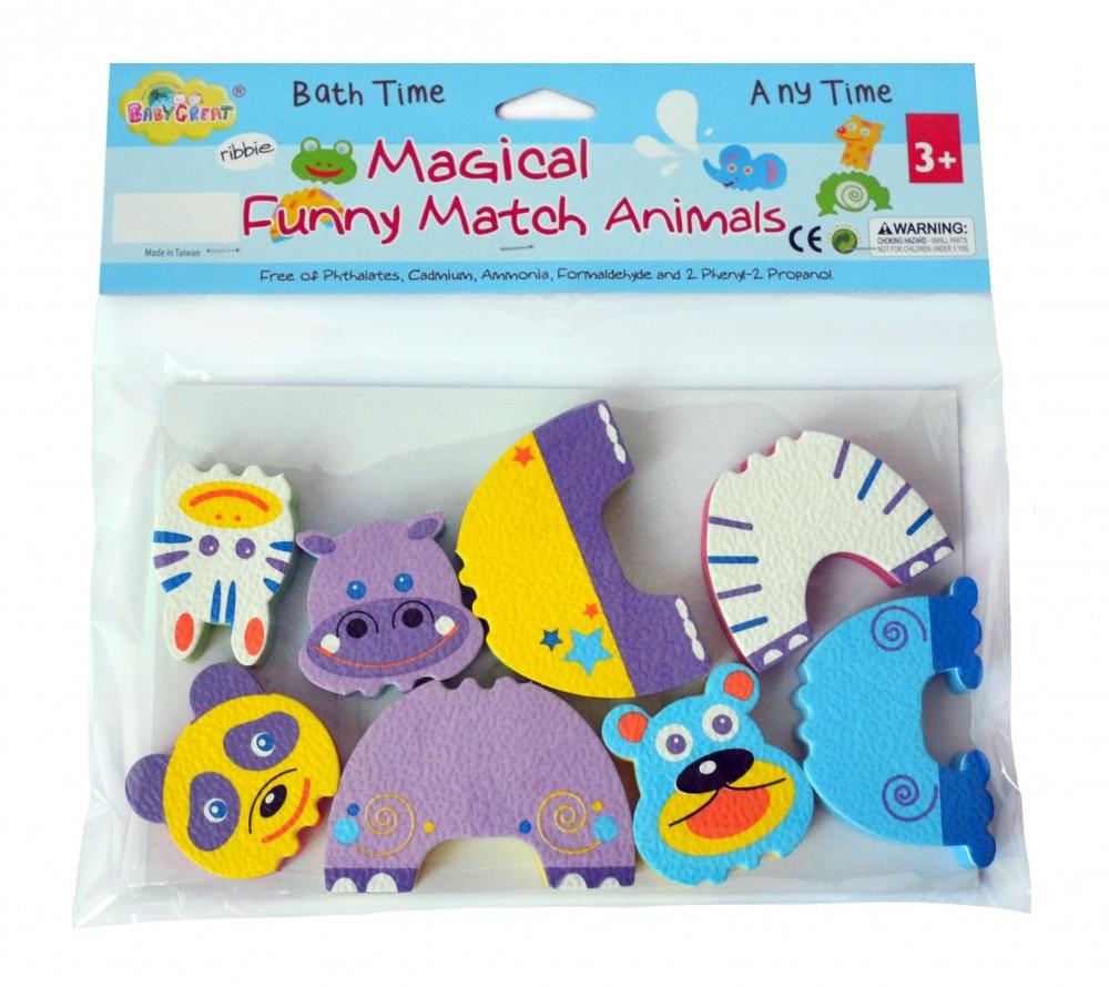 """Детские аква-пазлы """"Смешные животные"""", 4 игрушки"""