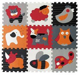 Детский игровой коврик - пазл «Веселый зоопарк», 92х92 см, оранжево-серый
