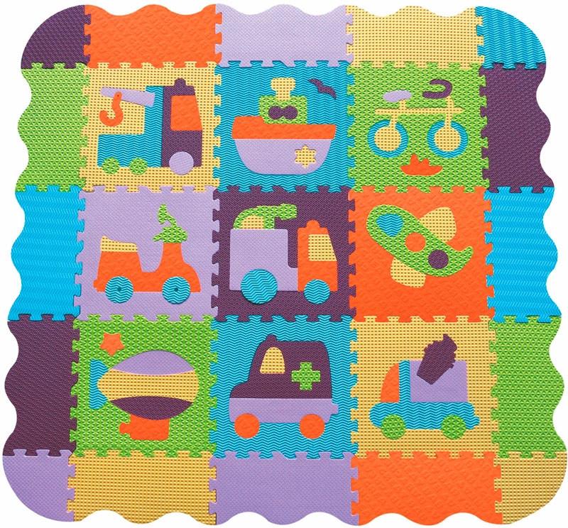 Детский игровой коврик-пазл «Быстрый транспорт» с бортиком