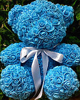 Голубой мишка из роз - необычный подарок для девушки (40 см), фото 1