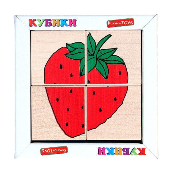 Кубики. Склади малюнок Фрукти ягоди