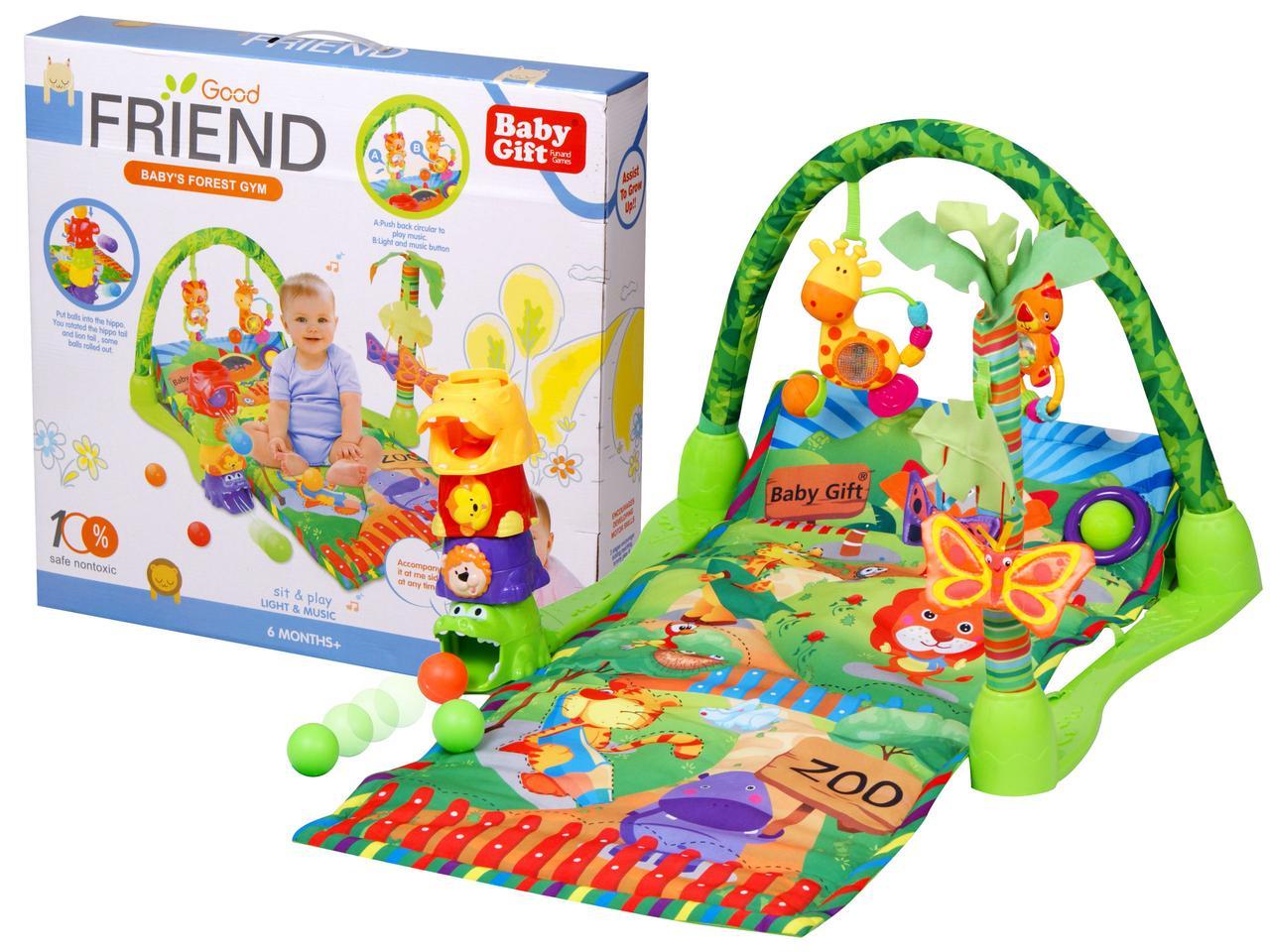 Дитячий розвиваючий килимок, ігровий килимок Зоопарк