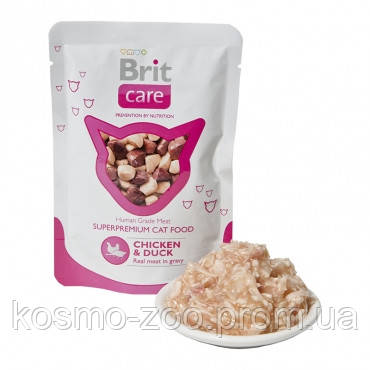 Суперпремиальный влажный корм для кошек BRIT Care Cat Курица и утка 80 гр. 24 шт.\уп