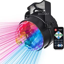 Диско лазер YX-025 — Эффект северного сияния, 12 режимов работы, светомузыка и стробоскоп с пультом ДУ, RGB