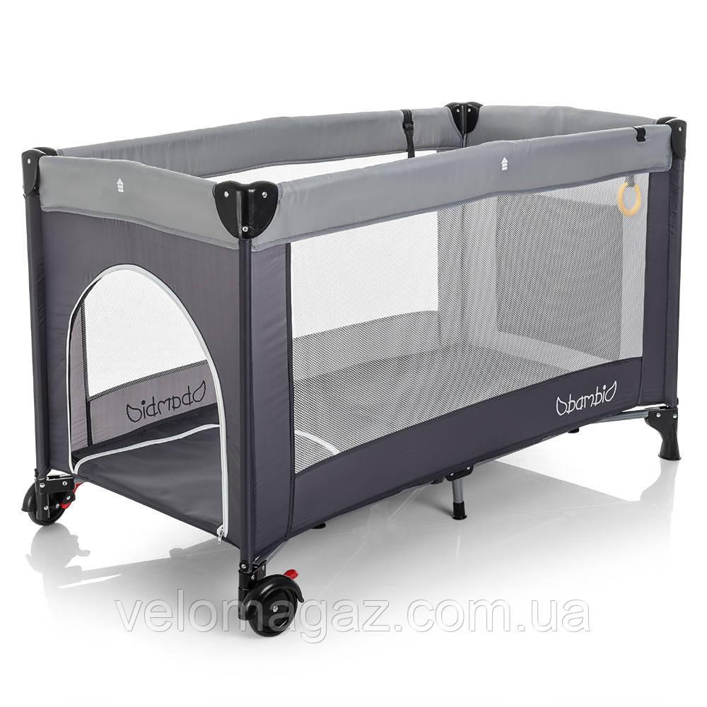 Манеж - кроватка для малышей M 3696-2, сумка, карман, серый цвет