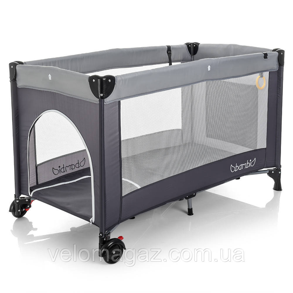 Манеж - ліжечко для малюків M 3696-2, сумка, кишеня, сірий колір