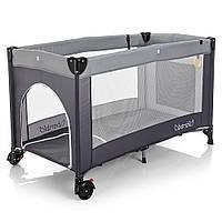 Манеж - ліжечко для малюків M 3696-2, сумка, кишеня, сірий колір, фото 1