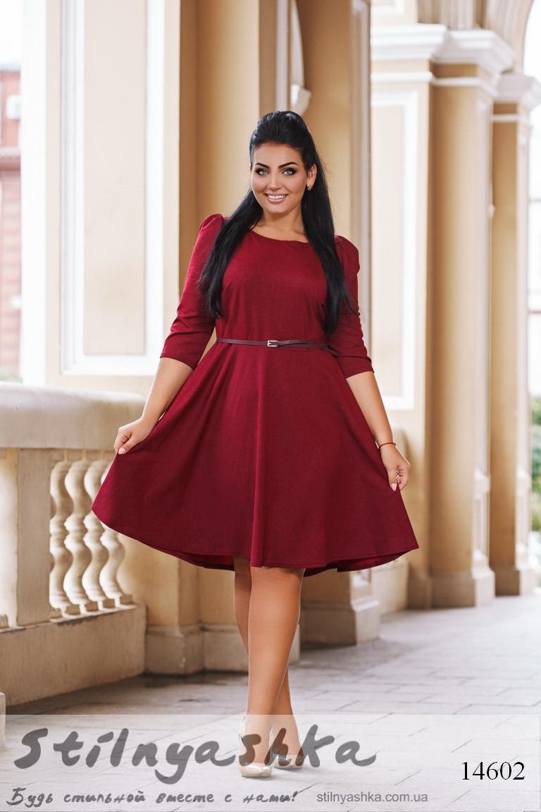 Большое расклешенное платье бордо, фото 1