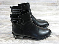Осенние кожаные ботинки на низком каблуке черного цвета, фото 1
