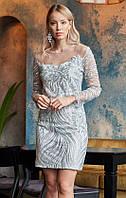 Короткое вечернее платье с пайетками серебристого цвета. Модель 20013. Размеры 42-46