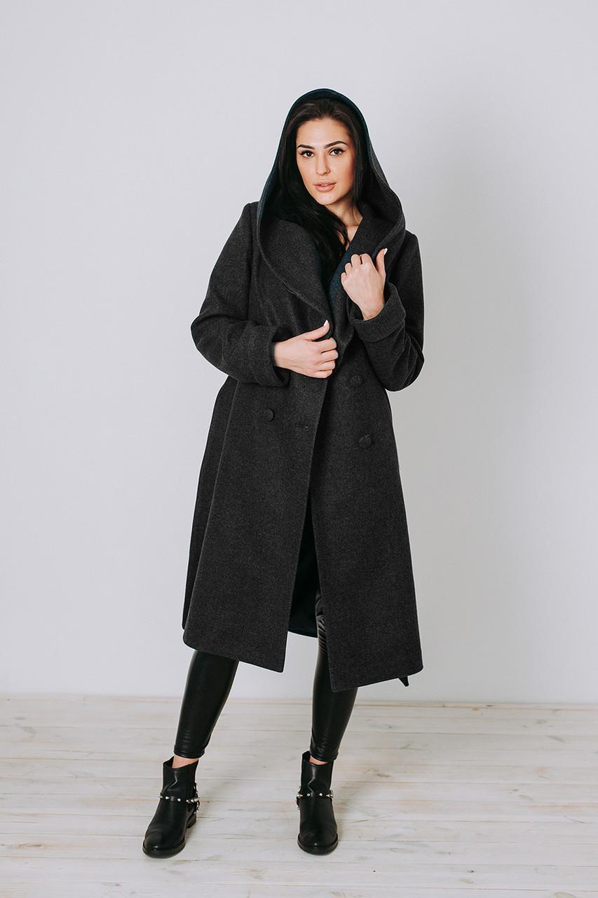Пальто весеннее женское шерсть Д 308 черное
