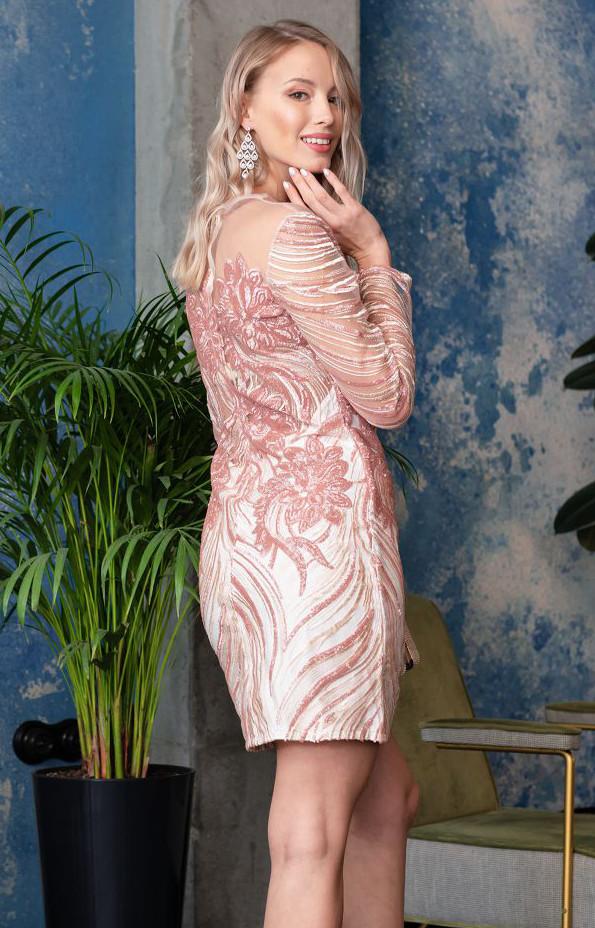 3970027a6ff Короткое вечернее платье с пайетками розового цвета. Модель 20033. Размеры  42-46