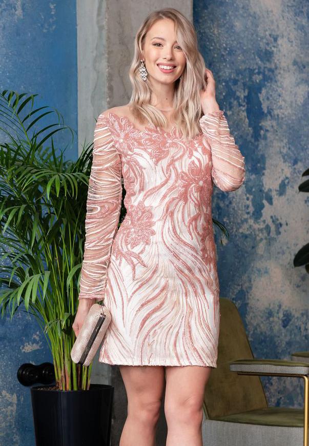 d17b7de0205 Короткое вечернее платье с пайетками розового цвета. Модель 20033. Размеры  42-46 -