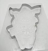 Вырубка для пряника с трафаретом ''Поросенок с подарком'' Галетте -06590
