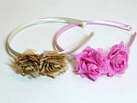 Обруч цветной, атлас, две розы, органза, блестки, ширина 1 см (6 шт)
