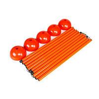 Стойка дриблинг с базой для помещения (комплект 5 шт. оранжевые) + сумка, фото 1