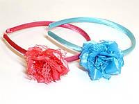 Обруч цветной, атлас, розы, органза, кружево, ширина 1 см (6 шт)