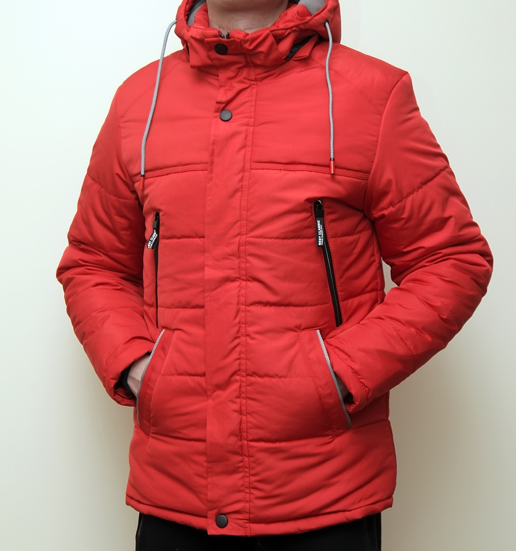 Мужская куртка, красного цвета. Куртка зимняя.ТОП КАЧЕСТВО!!!