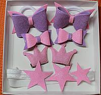 Набор детских аксессуаров для волос принцесса (повязка+заколки+резинки)