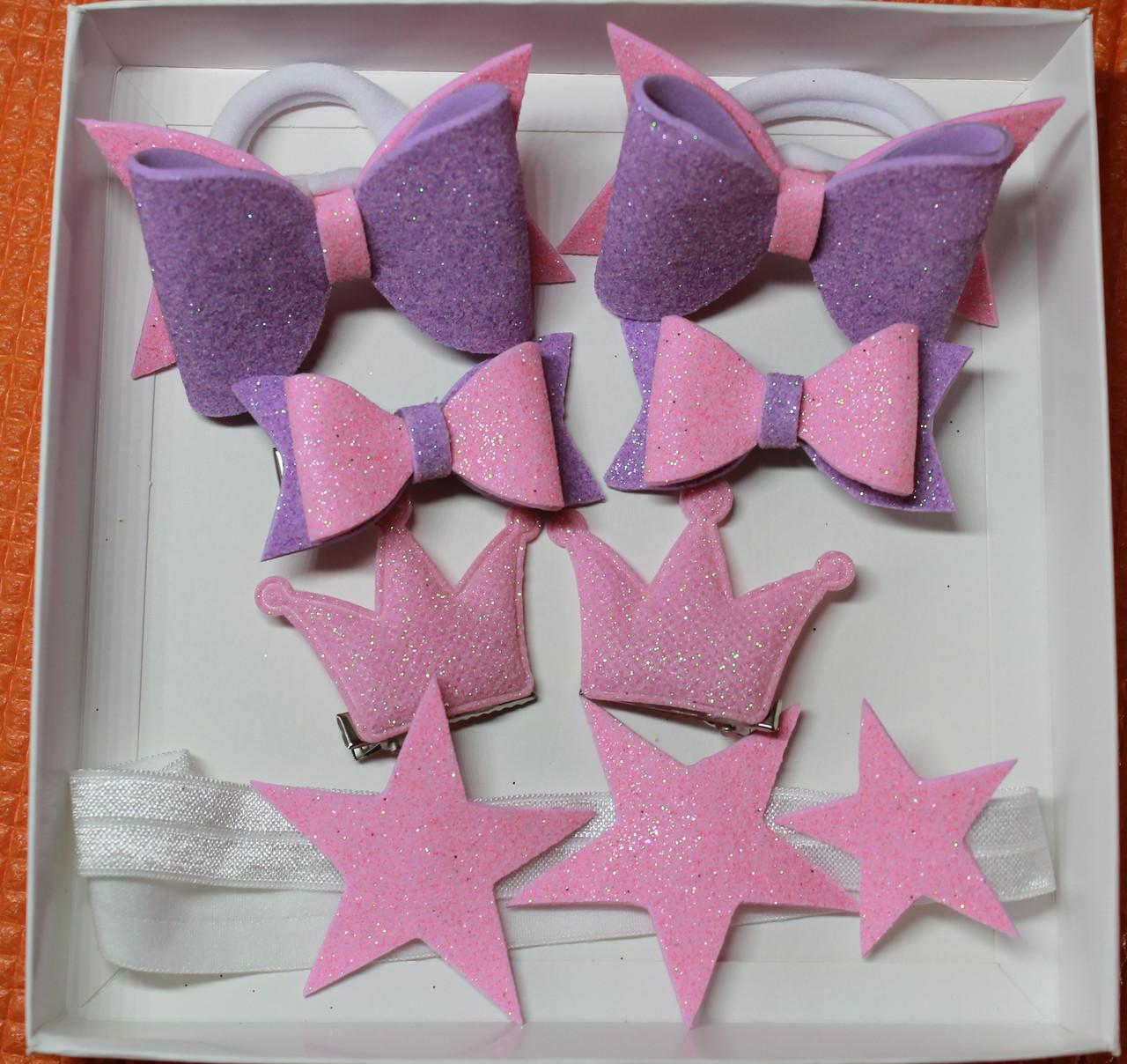d2c38e99f690 Набор детских аксессуаров для волос принцесса (повязка+заколки+резинки)