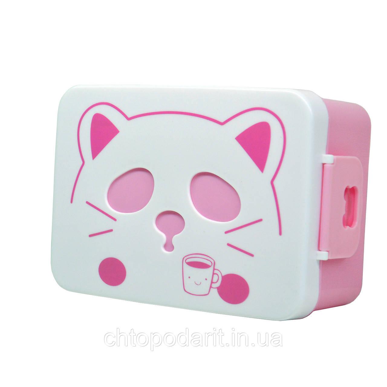Контейнер для еды кот (розовый) Код 10-1879