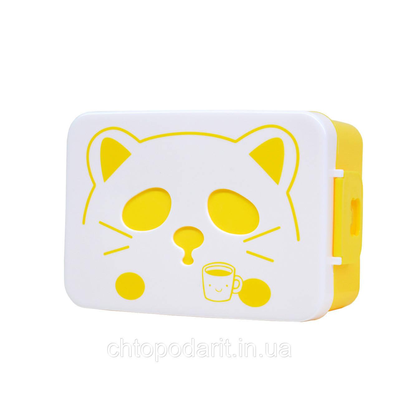 Контейнер для еды кот (желтый) Код 10-1878