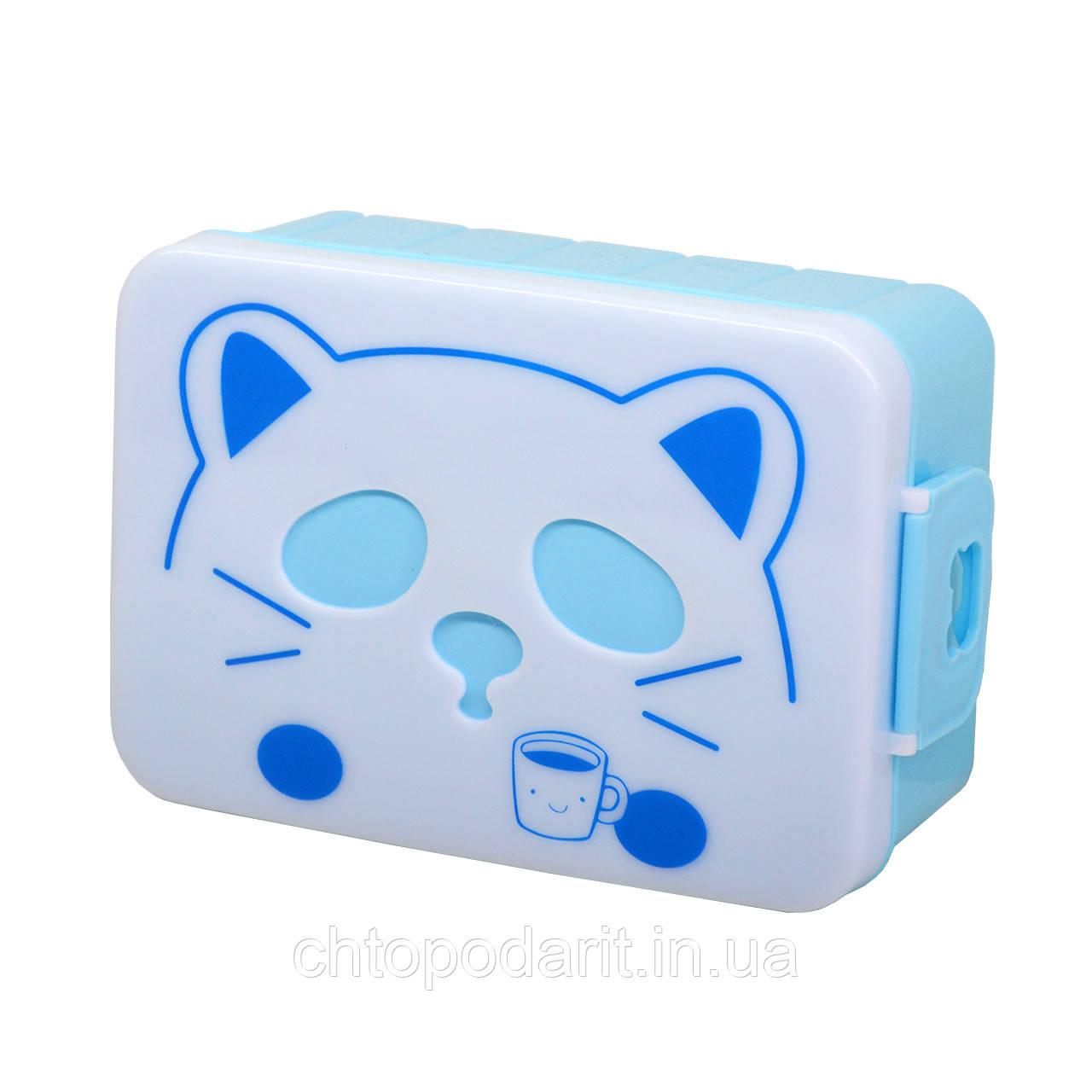 Контейнер для еды кот (голубой)