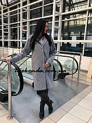 Пальто демисезонное кашемировое с поясом, серый