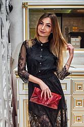 Клатч женский кожаный 02 бордовый наплак 03020304