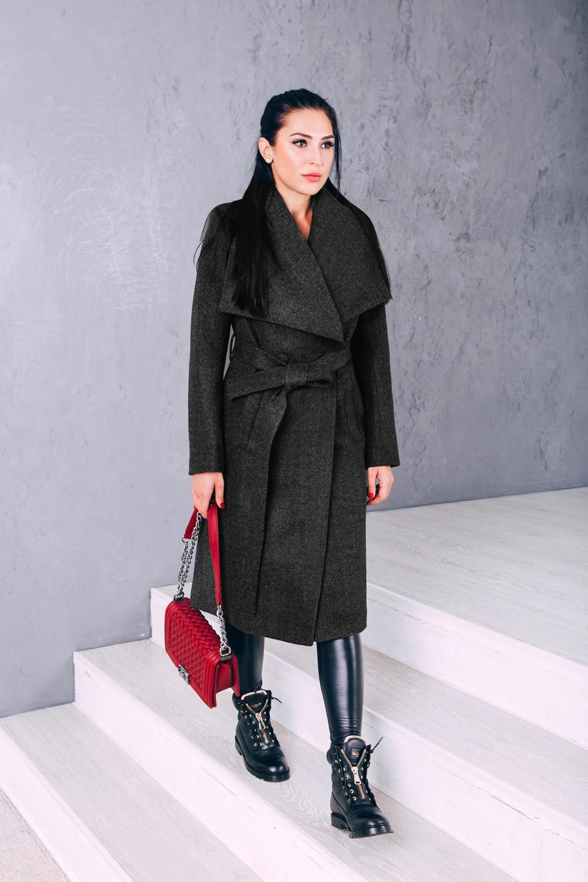 Пальто демисезонное классическое черная шерсть Д 346