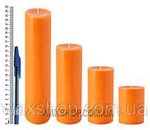 Свеча цилиндрическая, диаметр 6см, оранжевая