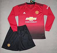 Футбольная форма Манчестер Юнайтед, длинный рукав, домашняя 2018-2019, красная