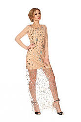 Вечернее платье 1119 бежевого цвета
