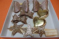 Набор детских аксессуаров для волос сердечко золотое (повязка+заколки+резинки)