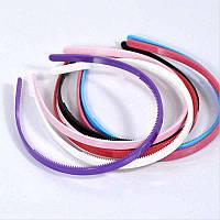 Обруч для волос, пластик, 6 цветов, ширина 8 мм, (6 шт)