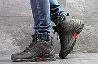 Мужские зимние кроссовки черные с красным Adidas Climaproof 6880