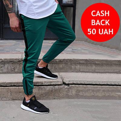 Спортивные штаны мужские зеленые с черной полоской бренд ТУР модель Рокки (Rocky) размер XS, S, M, L