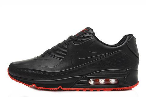 67d073c68481 Мужские кроссовки Nike Air Max 90 First Leather Black Red   найк аир макс 90  черные
