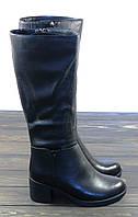 Кожаные зимние сапоги на каблуке женские, фото 1