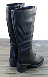 Кожаные зимние сапоги на каблуке женские, фото 3