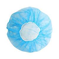 Шапочка-берет медицинская одноразовая, голубая, 100 шт/уп